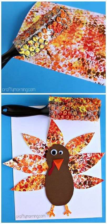 Thanksgiving Art Projects For Preschoolers  Bubble Wrap Printed Turkey Art Project Thanksgiving craft
