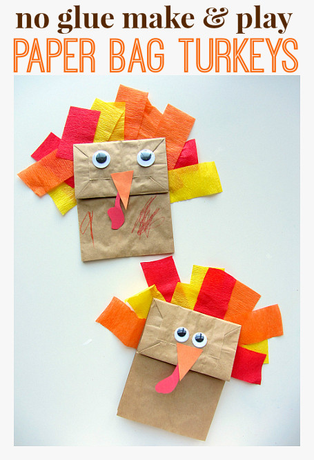 Thanksgiving Art Projects For Preschoolers  No Glue Turkey Craft For Thanksgiving No Time For