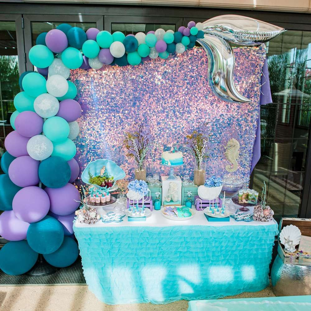 The Little Mermaid Party Ideas Pinterest  This Mermaid Birthday Party is stunning Love the dessert