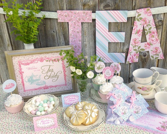 Toddler Tea Party Ideas  Tea Party Printable Set Baby Shower Bridal Shower or