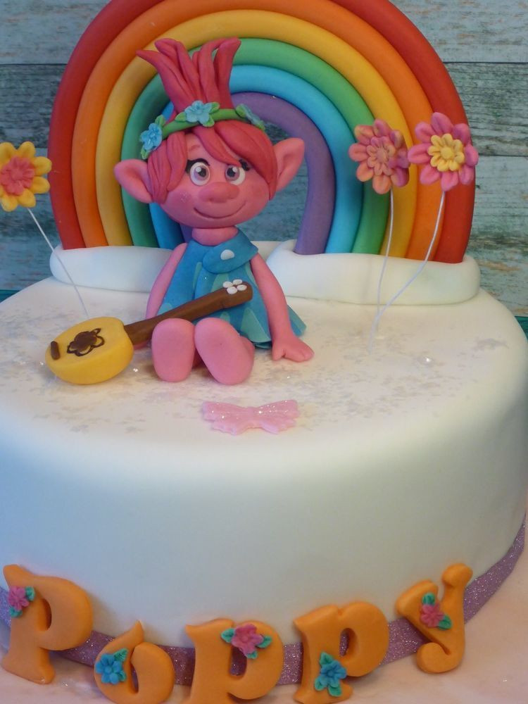 Trolls Birthday Cake Topper  Princess Poppy Troll Rainbow Handmade Personalised