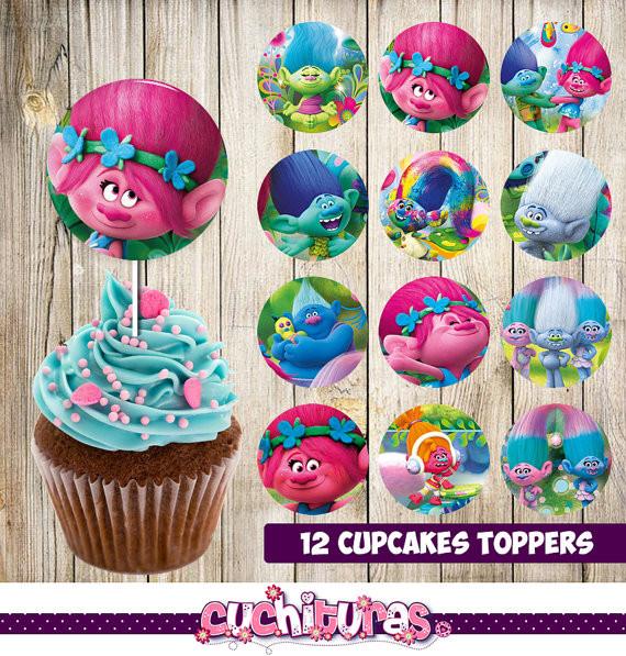 Trolls Birthday Cake Topper  12 Trolls Cupcakes Toppers instant Printable Trolls