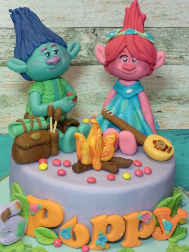 Trolls Birthday Cake Topper  Trolls Poppy Branch Handmade Personalised Birthday Age