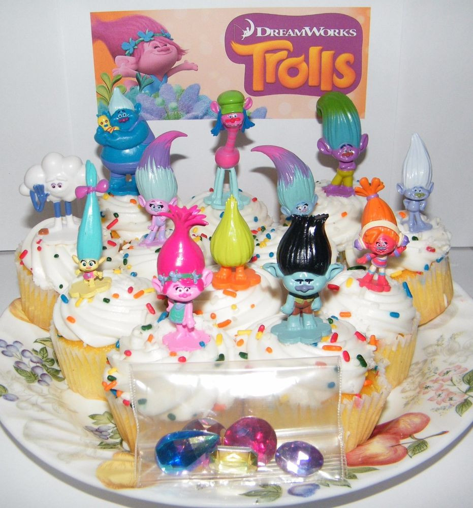 Trolls Birthday Cake Topper  Dreamworks Trolls Movie Cake Toppers Set of 17 Fun Figures