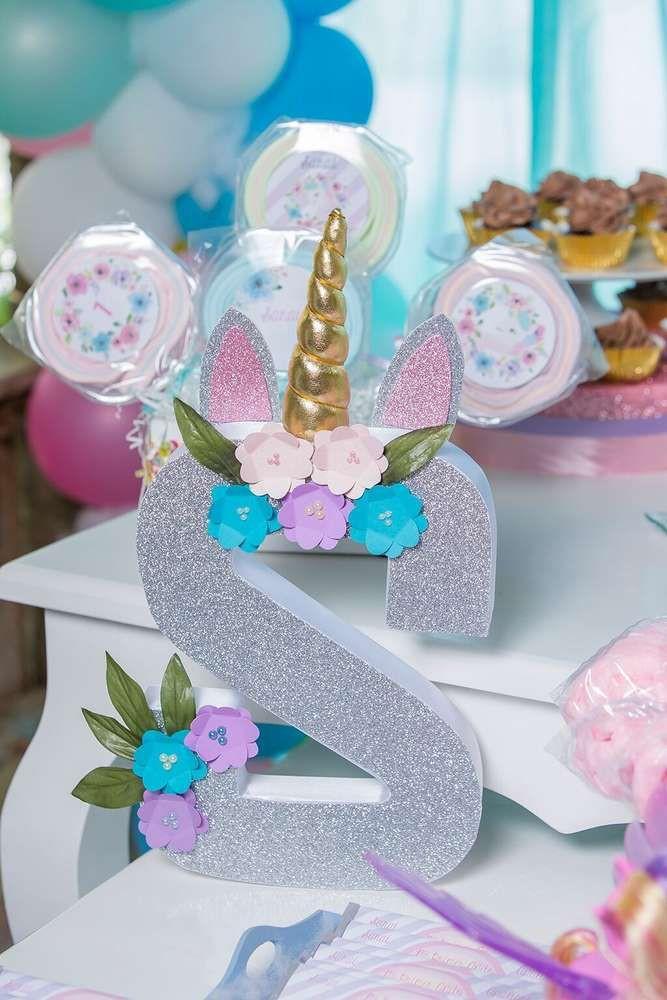 Unicorn Birthday Party Decorations Ideas  The unicorn decorated monogram letter at Unicorn Birthday