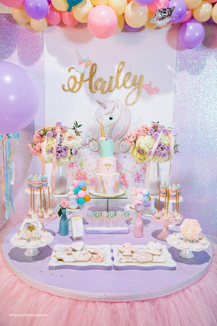 Unicorn Birthday Party Decorations Ideas  Kara s Party Ideas Sparkly Baby Unicorn Birthday Party