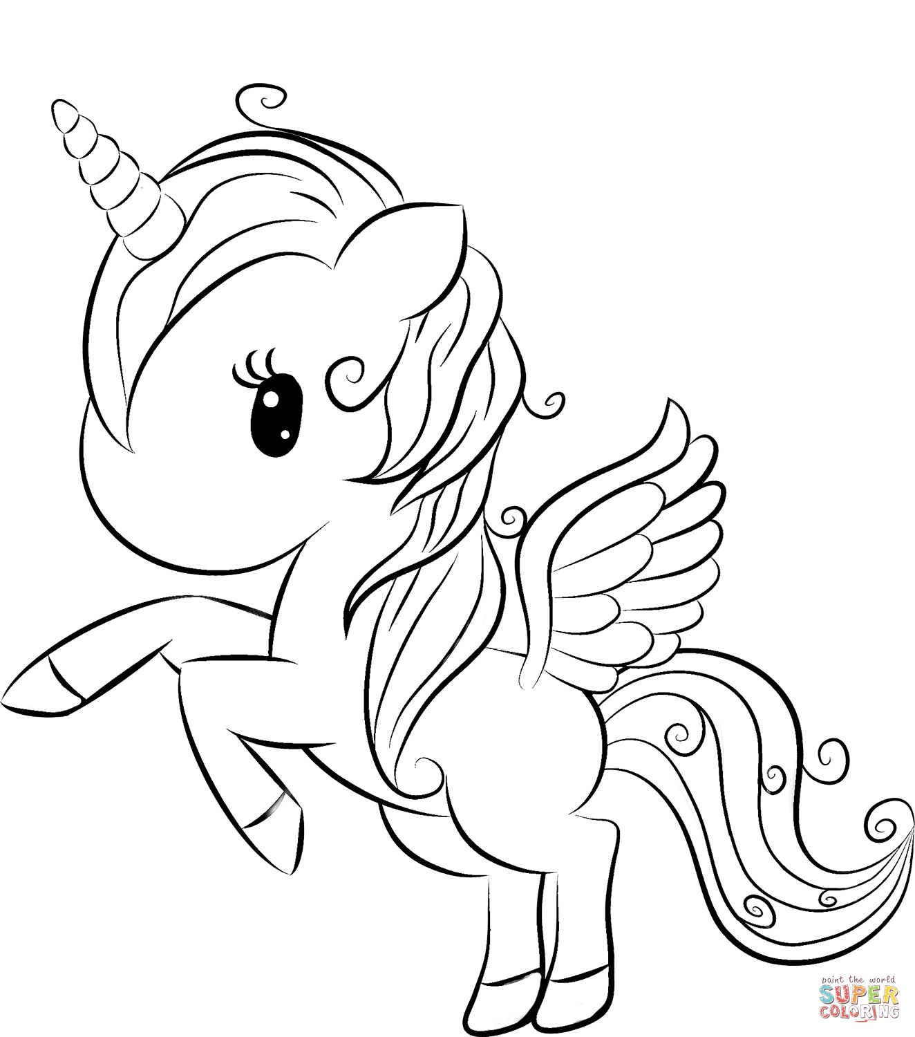 Unicorn Coloring Pages For Kids  Cute Unicorn coloring page