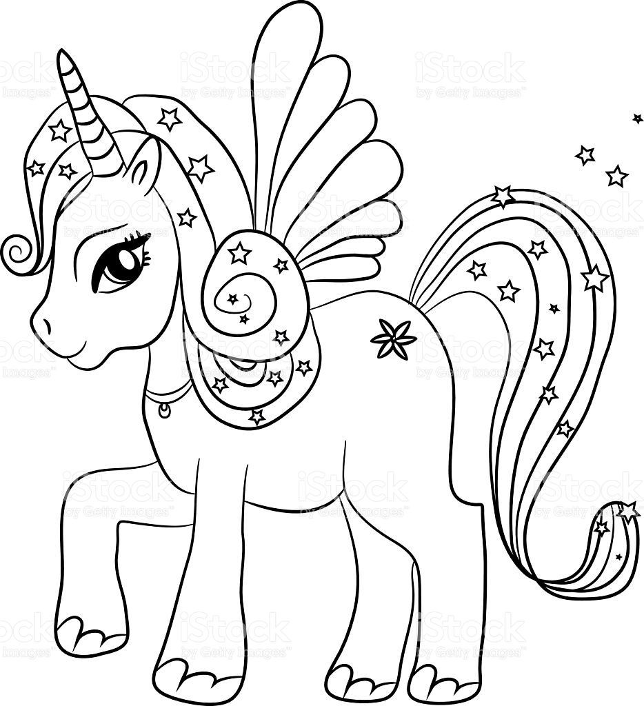 Unicorn Coloring Pages For Kids  Black and white coloring sheet
