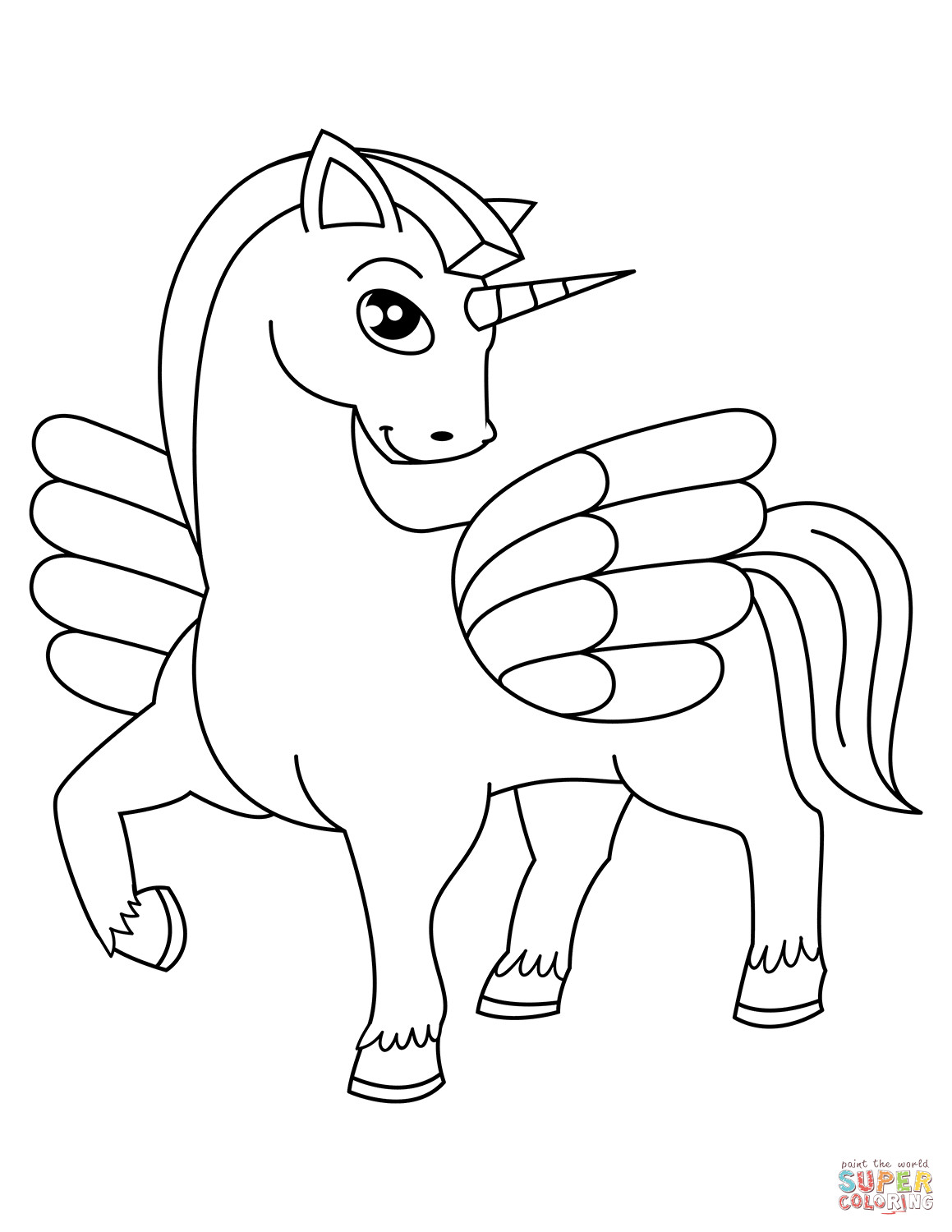 Unicorn Coloring Pages For Kids  Cute Winged Unicorn coloring page