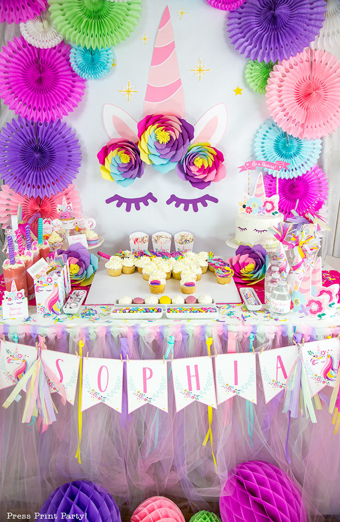 Unicorn Party Table Ideas  Truly Magical Unicorn Birthday Party Decorations DIY