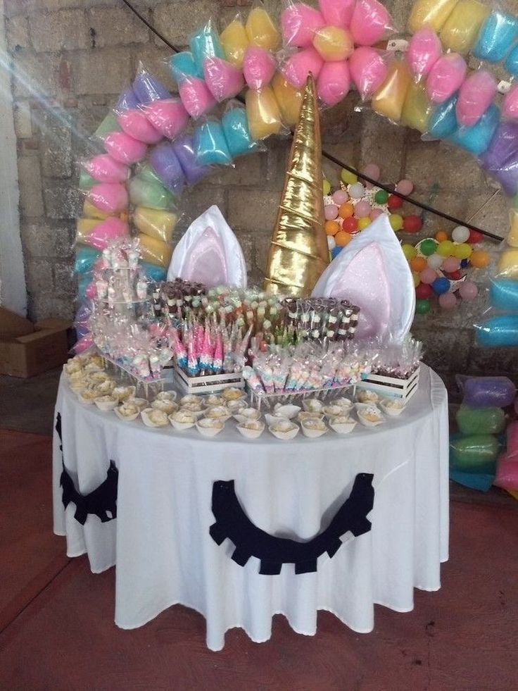 Unicorn Party Table Ideas  Unicorn table & backdrop & table decorations ideas