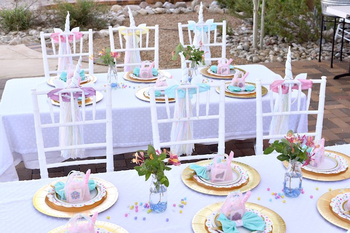 Unicorn Party Table Ideas  Kara s Party Ideas Pastel Unicorn Themed Birthday Party