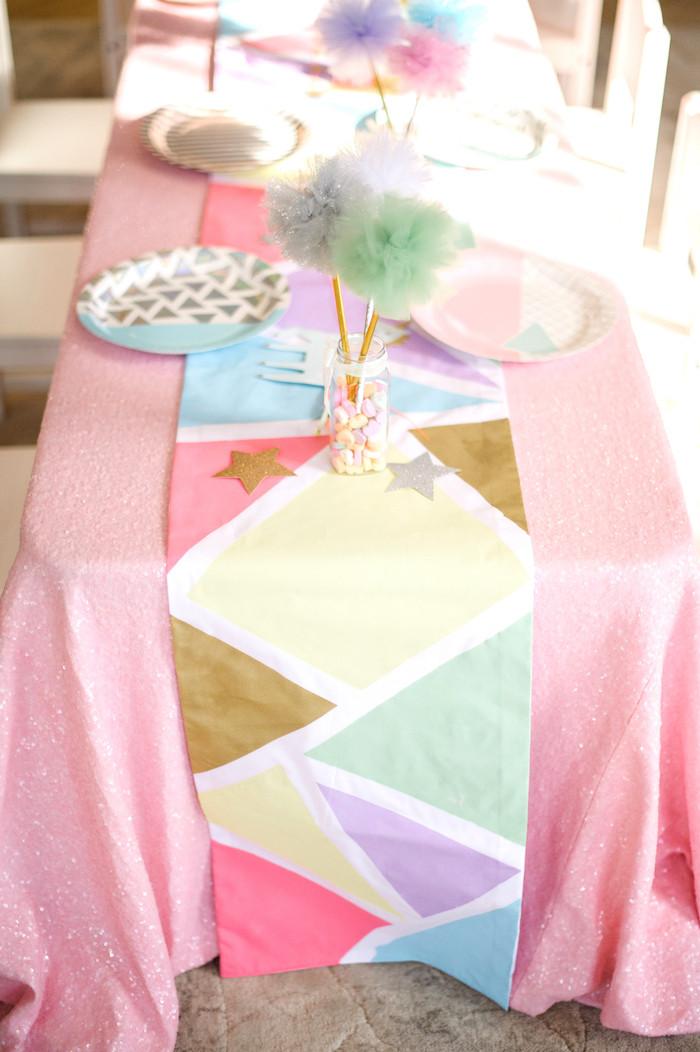 Unicorn Party Table Ideas  Kara s Party Ideas Geometrical Magical Unicorn Party
