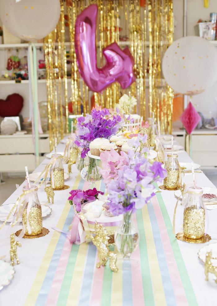 "Unicorn Party Table Ideas  Kara s Party Ideas Magical ""Magic is FOUR Real"" Unicorn"