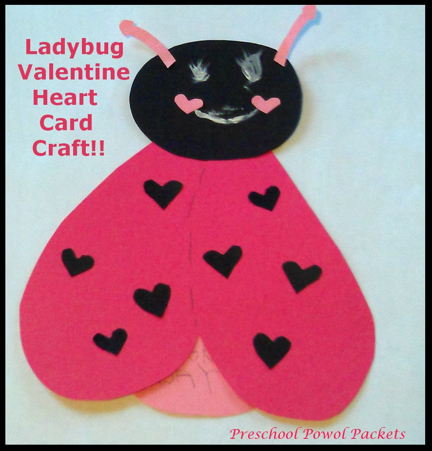 Valentine Cards Craft For Preschool  Ladybug Valentine Heart Card Craft