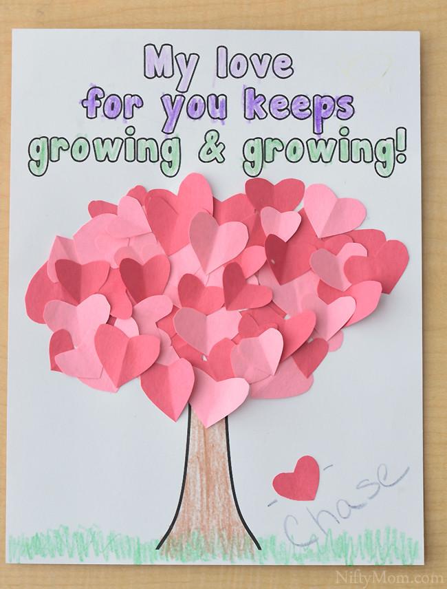 Valentine Cards Craft For Preschool  Heart Tree Craft for Kids Valentine s Day