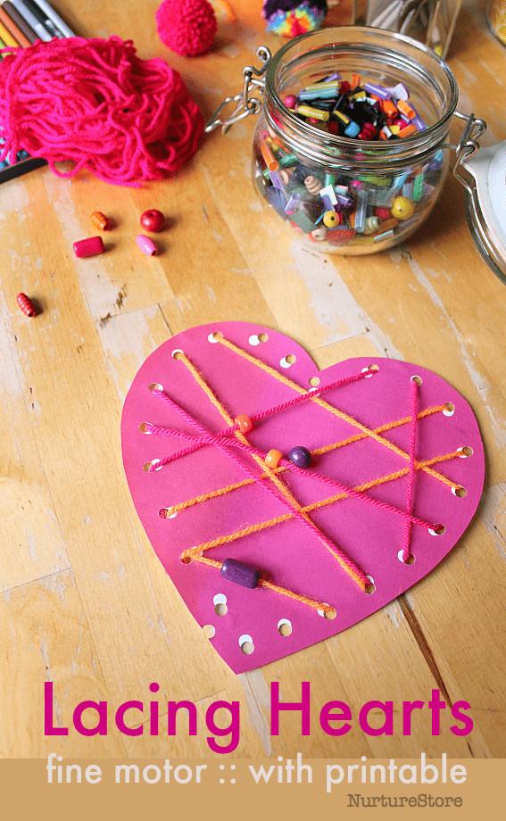 Valentine Cards Craft For Preschool  Printable lacing cards easy heart craft for Valentine s