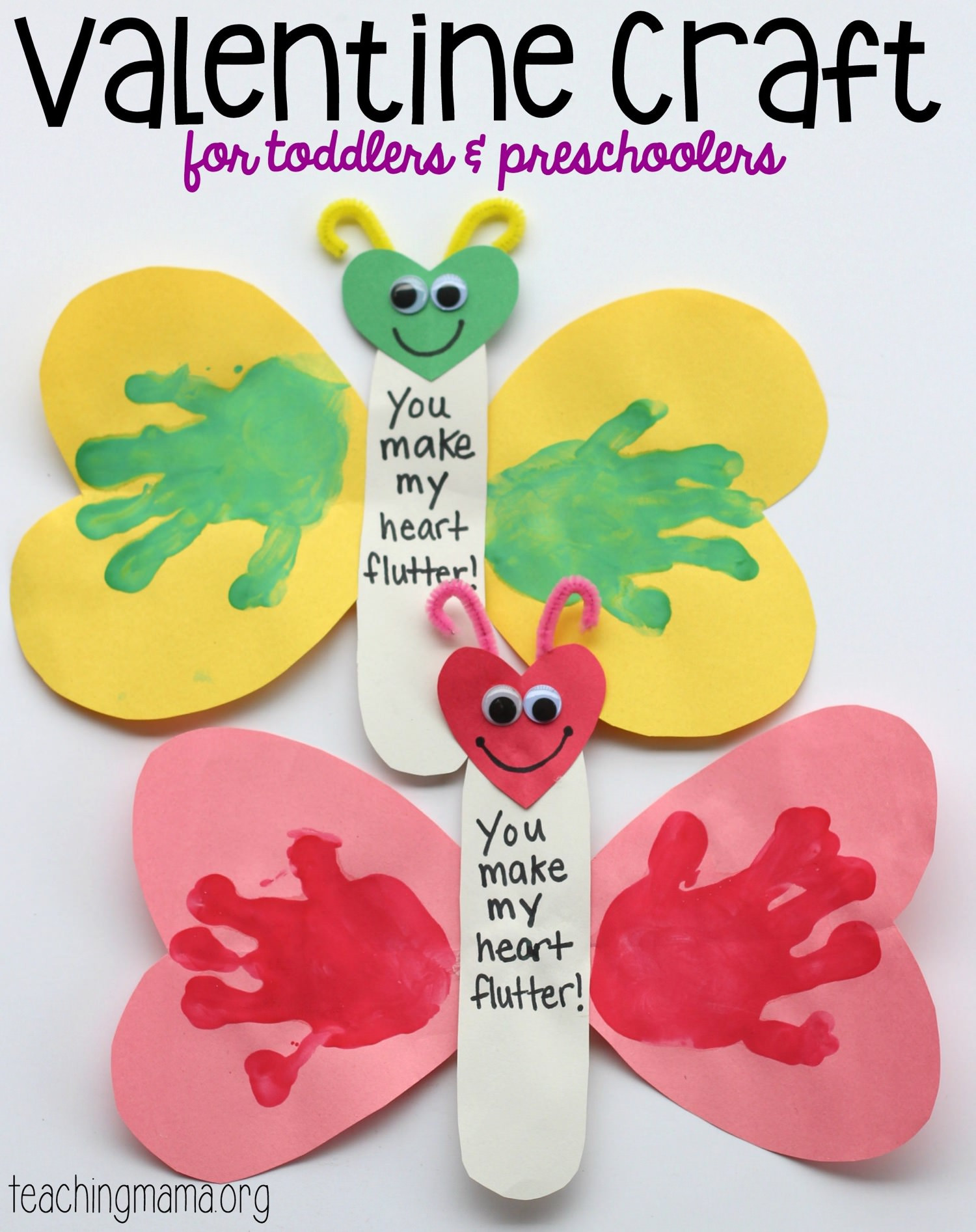 Valentine Craft Preschoolers  You Make My Heart Flutter Valentine Craft