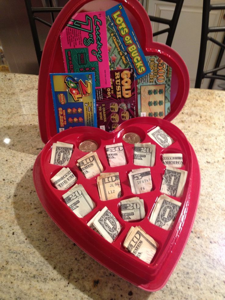 Valentine Day Gift Box Ideas  valentine chocolate heart box with cash and lottery