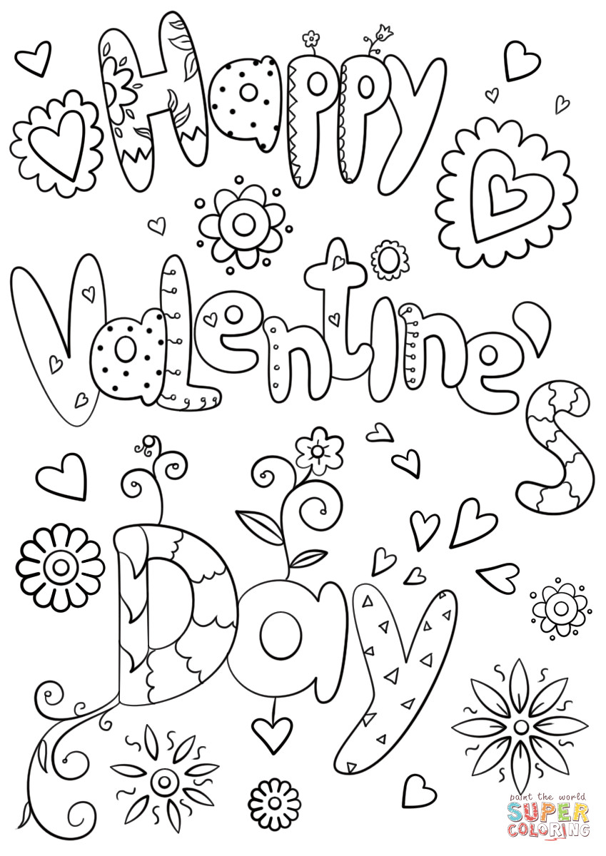 Valentines Coloring Pages For Kids  Happy Valentine s Day coloring page