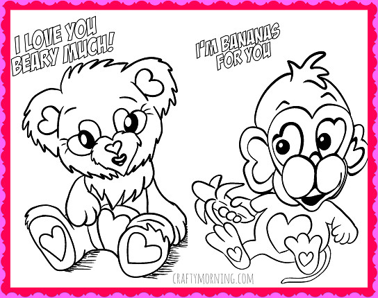Valentines Coloring Pages For Kids  Free Printable Valentine s Day Coloring Pages Crafty Morning