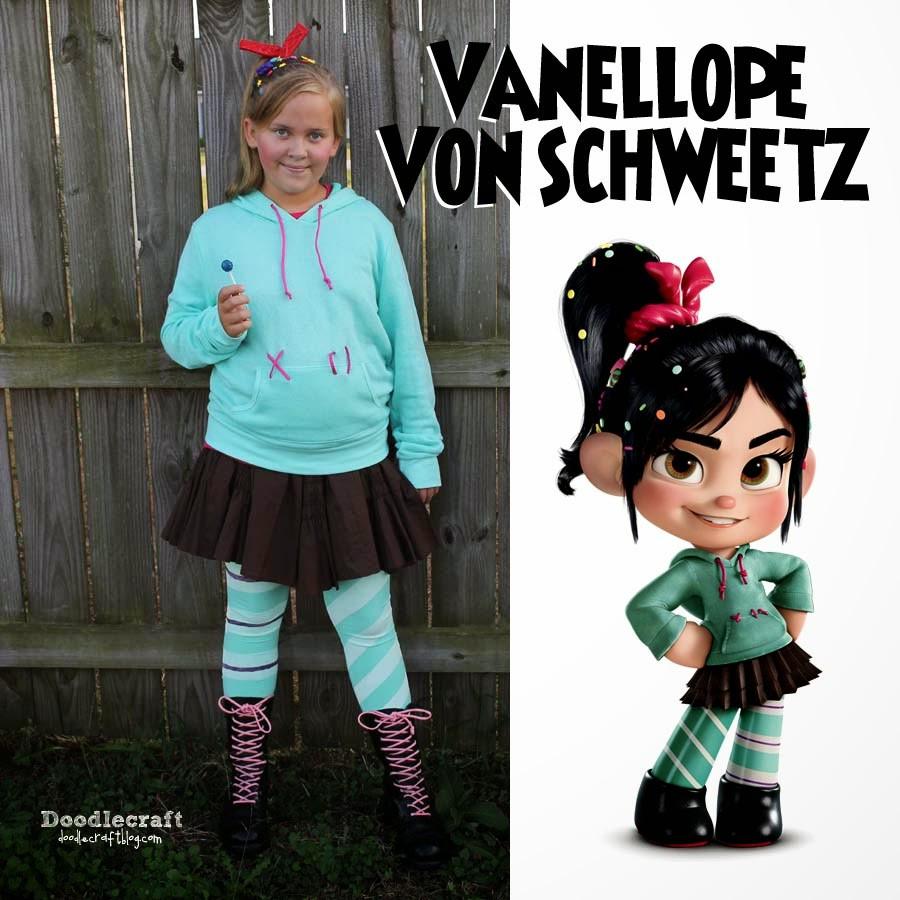 Vanellope Von Schweetz Costume DIY  Doodlecraft Vanellope Von Schweetz Costume