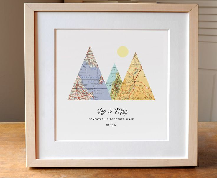 Wedding Gift Ideas For Outdoorsy Couple  Adventure To her Map Mountain Personalized Wedding Gift