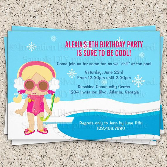 Winter Pool Party Ideas  Winter Pool Party Invitation Girl Swim Party Invitation