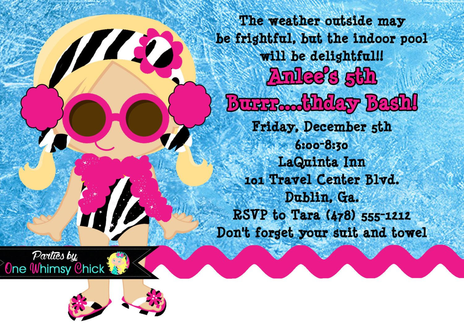 Winter Pool Party Ideas  Winter Pool Party Birthday Invitation Printable or