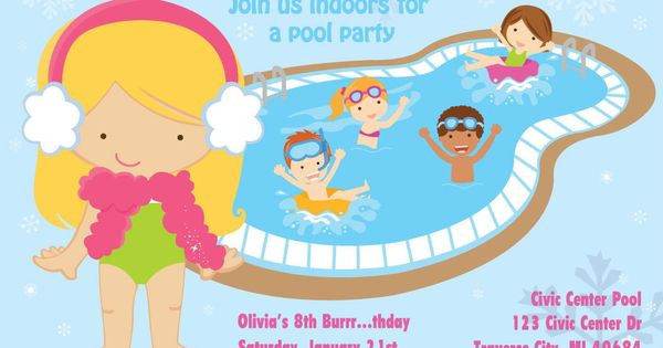 Winter Pool Party Ideas  Winter Pool Party Invitation Indoor Pool Party Birthday