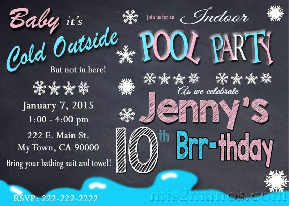 Winter Pool Party Ideas  Printable WINTER POOL PARTY Invitation Winter Birthday