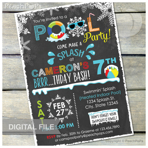 Winter Pool Party Ideas  Winter Pool Birthday Party Chalkboard Invitation Snow