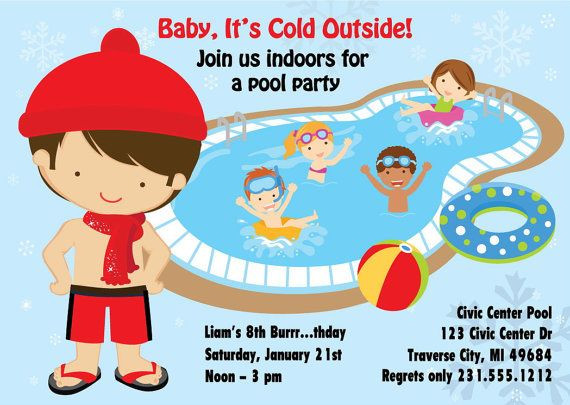 Winter Pool Party Ideas  Indoor Pool Party Invitation Winter Pool Party Birthday