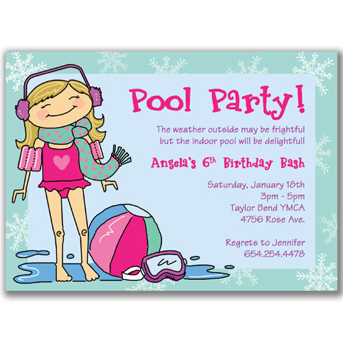 Winter Pool Party Ideas  Winter Pool Party Invitations for Girls Birthday Party by