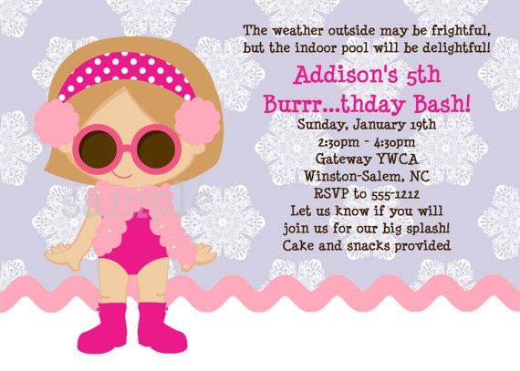 Winter Pool Party Ideas  Winter Pool Party Birthday Invitation