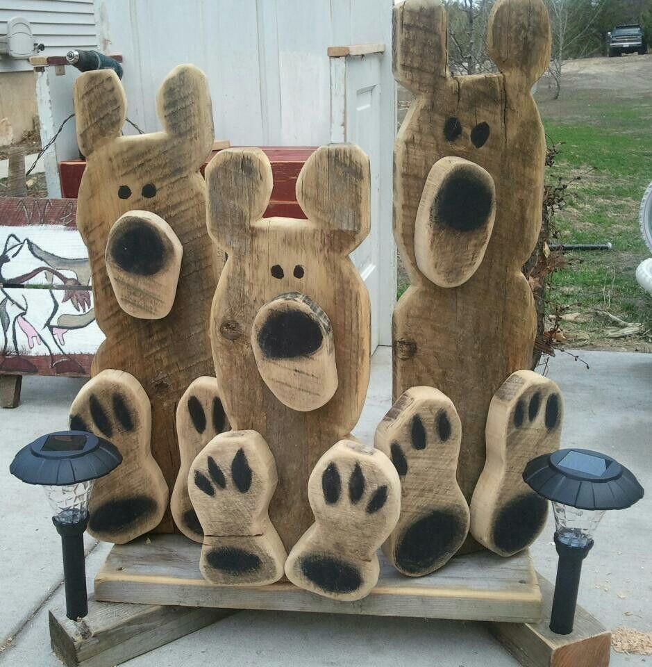 Wood Craft Ideas  Solar light bears Diy s