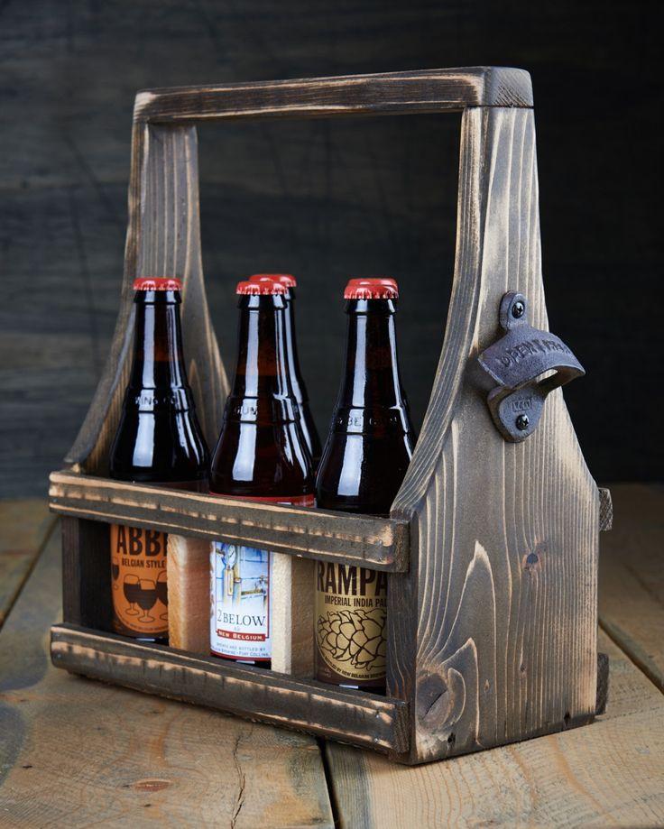 Wood Craft Ideas  Handmade Beer Carrier Beer Tote Wooden Craft Beer Natural