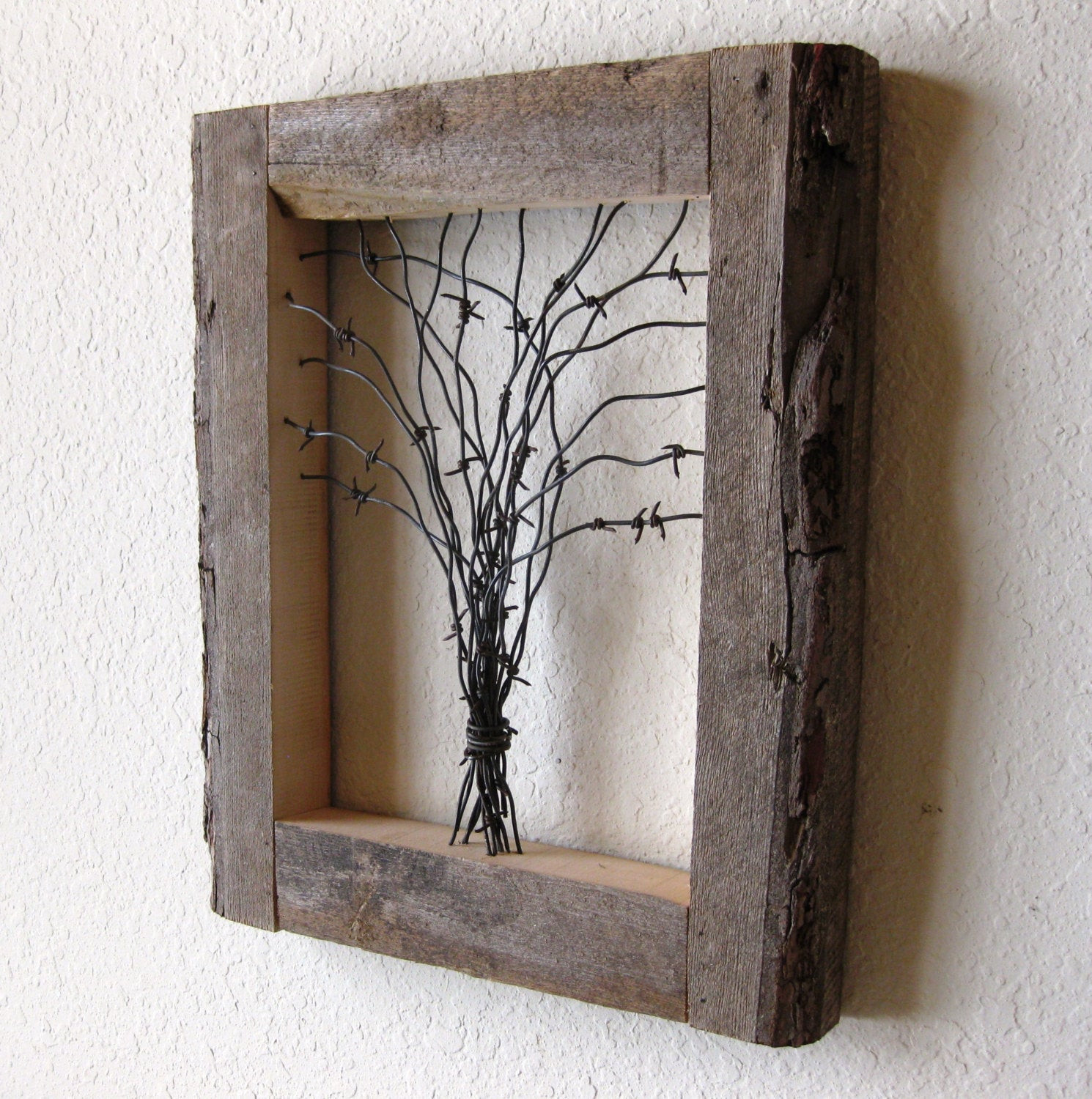Wood Craft Ideas  Reclaimed Barn Wood and Barbed Wire Tree Wall Art