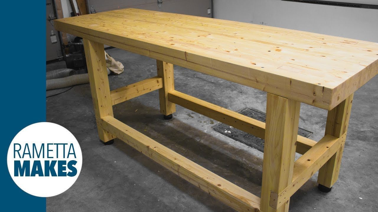 Workbench Plans DIY  How to Build a 2x4 Workbench with Levelling Feet DIY