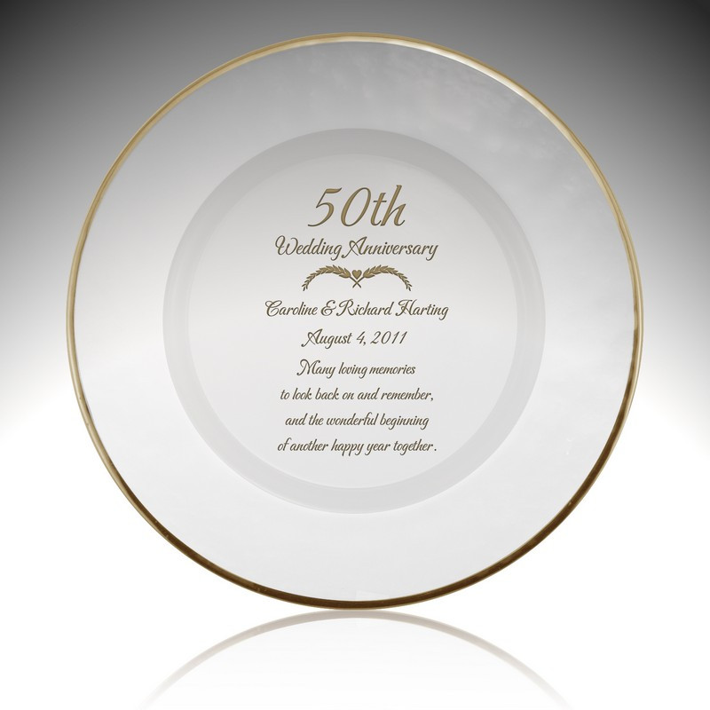 50 Year Anniversary Gift Ideas  Personalized Glass 50th Anniversary Plate with Gold Rim