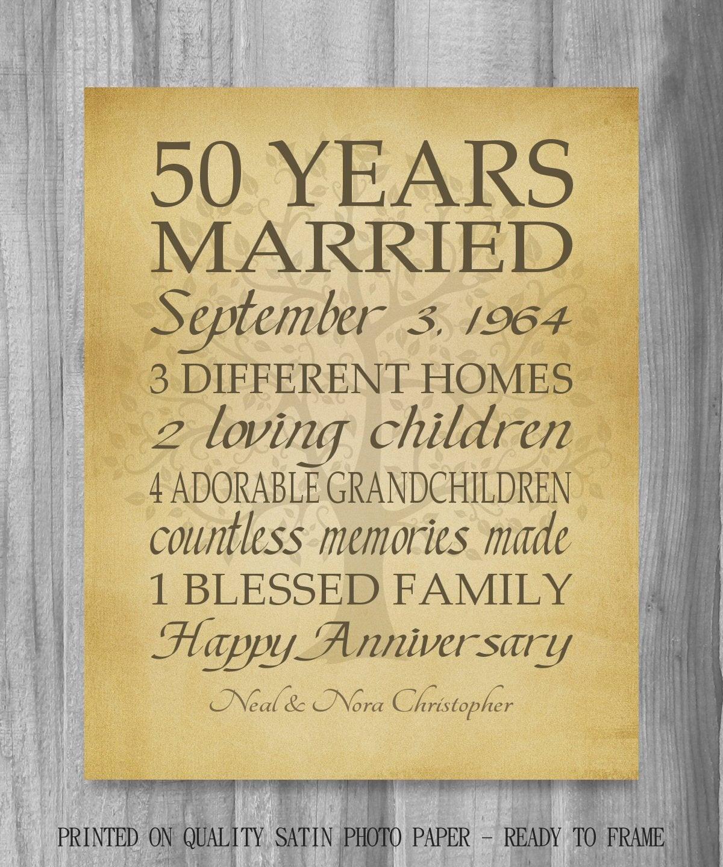 50 Year Anniversary Gift Ideas  50th Anniversary Gift Golden Anniversary 50 Years Personalized