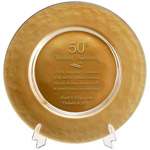 50 Year Anniversary Gift Ideas  Personalized Gold Glass 50th Anniversary Plate