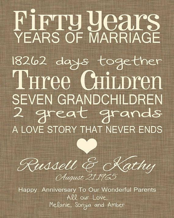 50 Year Anniversary Gift Ideas  50th Anniversary Gift Fun 50th Wedding Anniversary Print