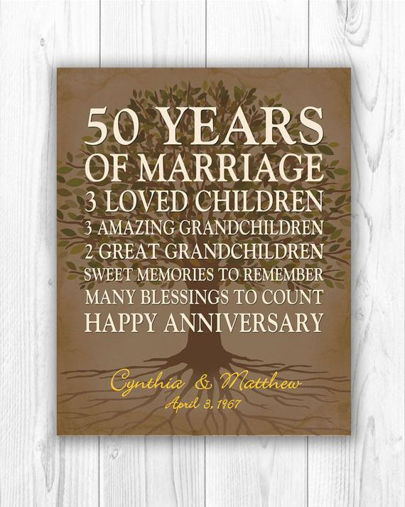 50 Year Anniversary Gift Ideas  50th anniversary t for parents anniversary t golden