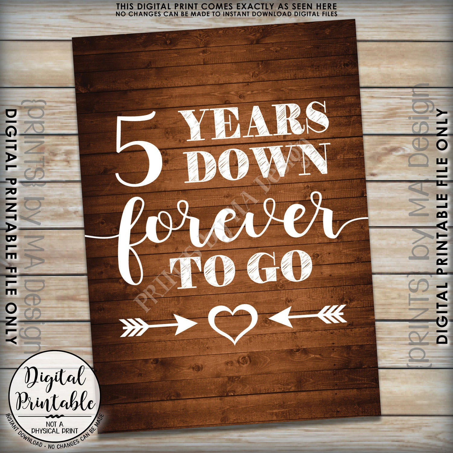 5Th Anniversary Gift Ideas For Couple  5 Years Down Forever to Go 5th wedding anniversary t