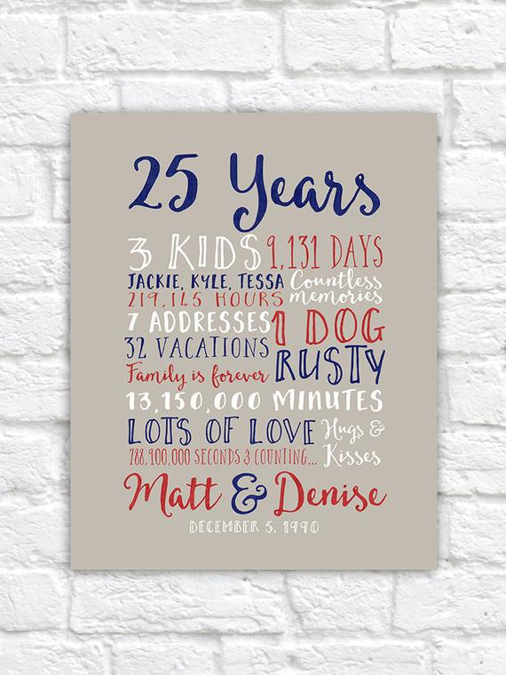 5Th Anniversary Gift Ideas For Couple  25th Wedding Anniversary Gift Paper Canvas Twenty Fifth 10
