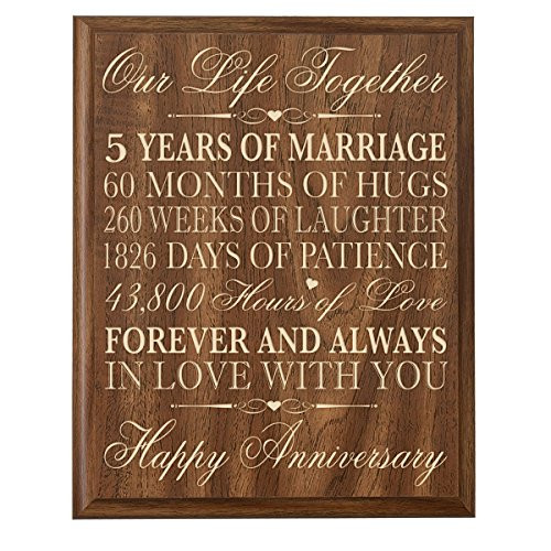 5Th Anniversary Gift Ideas For Couple  5th Wedding Anniversary Wall Plaque Gifts for Couple 5th