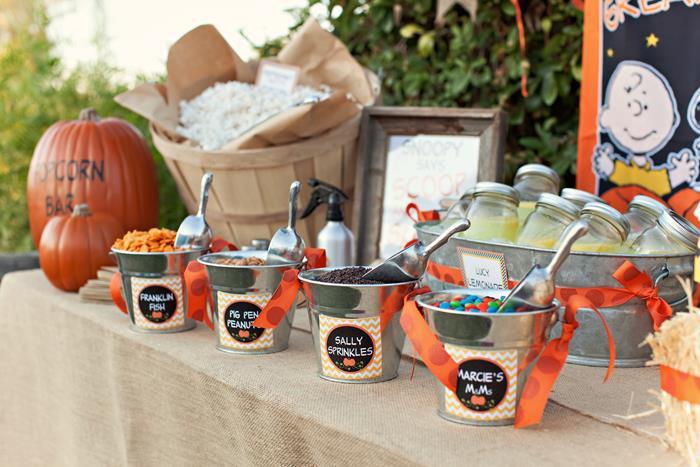 Backyard Halloween Party  Kara s Party Ideas Charlie Brown Great Pumpkin Halloween