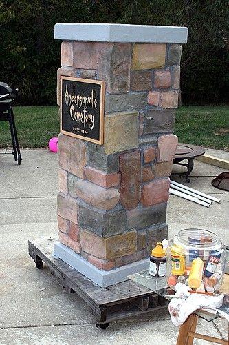 Cemetery Fence Halloween Prop  Cemetery Entrance Columns Amazing tutorial Stunningly