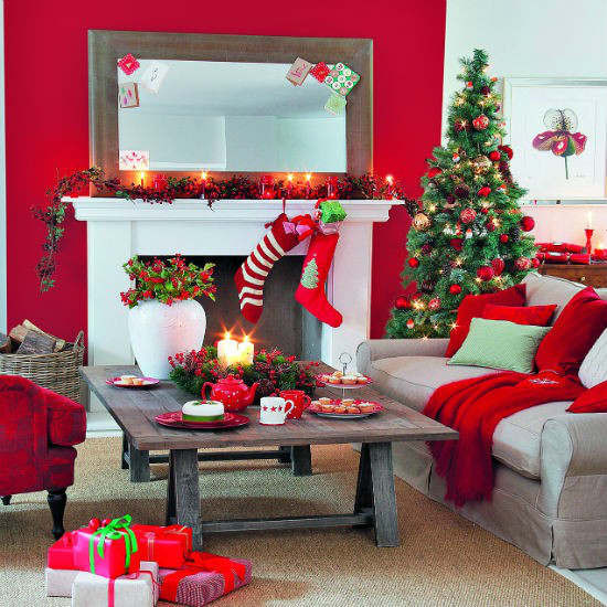 Christmas Decorations For Small Apartment  33 Best Christmas Country Living Room Decorating Ideas